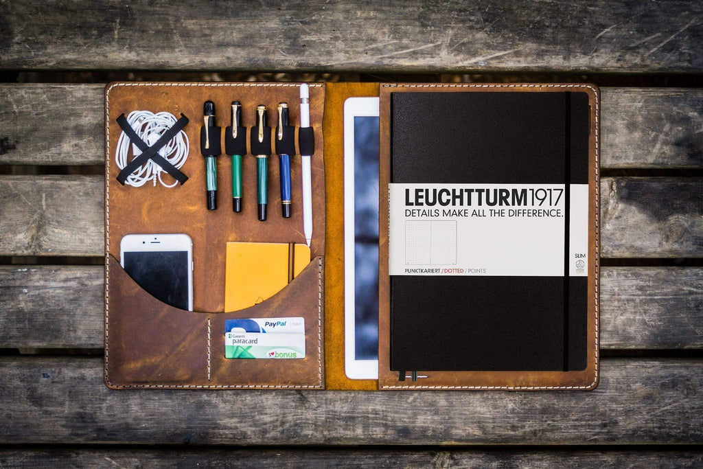 Leuchtturm1917 A4 - A4+ Leather Cover Portfolio - Crazy Horse Brown-Galen Leather