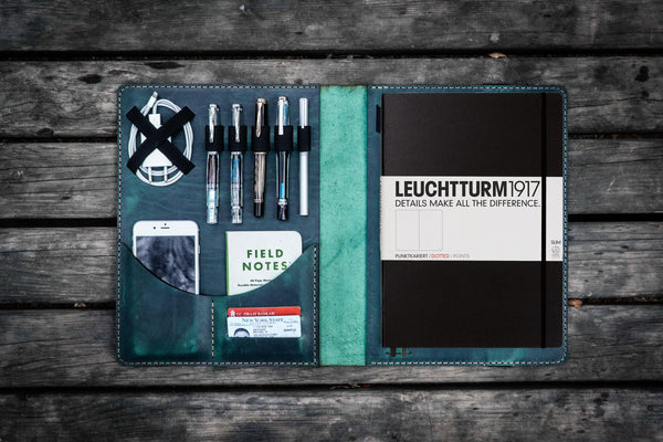 Leuchtturm1917 A4 - A4+ Leather Cover Portfolio - Crazy Horse Forest Green-Galen Leather