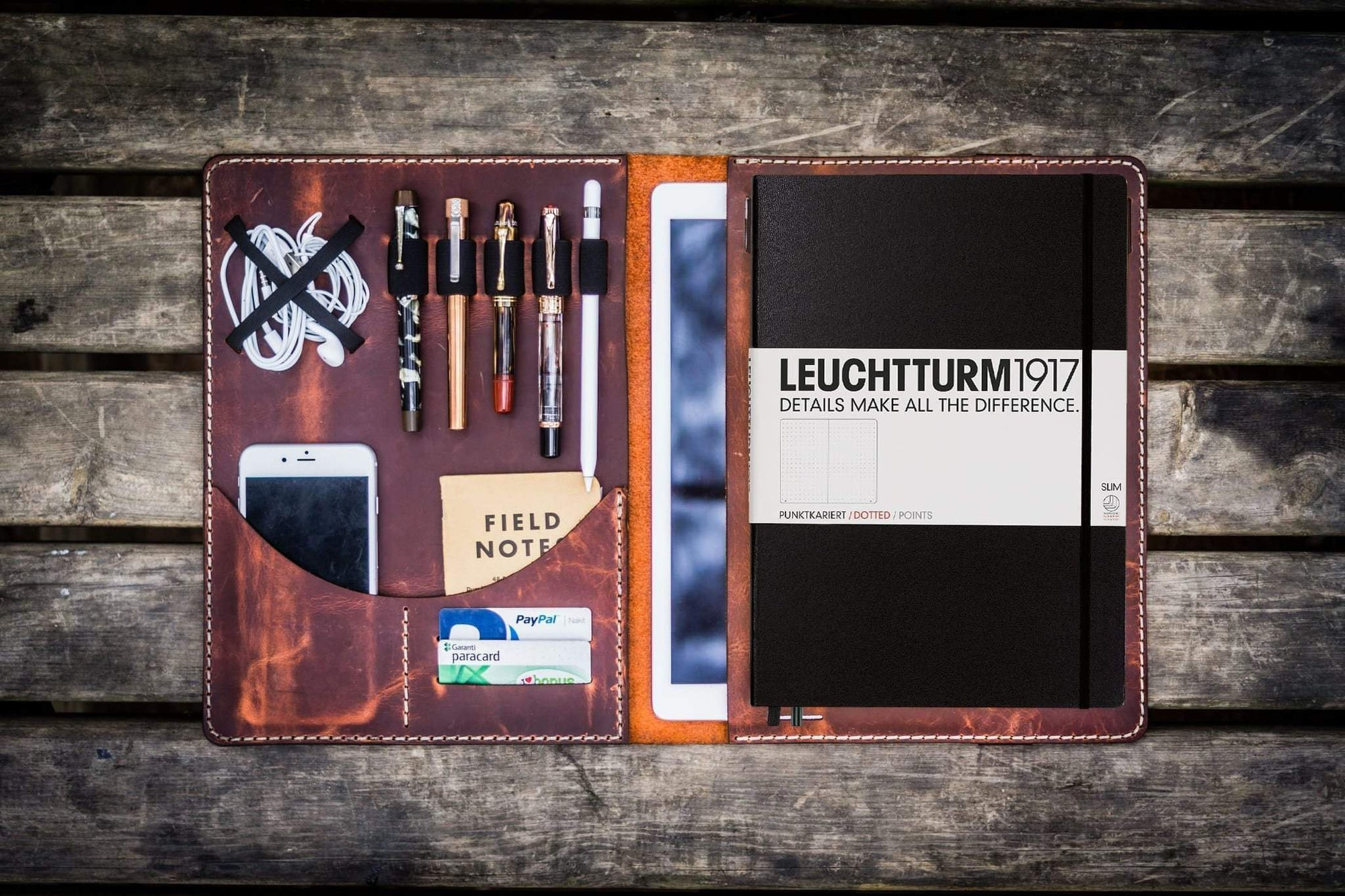 Leuchtturm1917 A4 - A4+ Leather Cover Portfolio - Crazy Horse Orange-Galen Leather