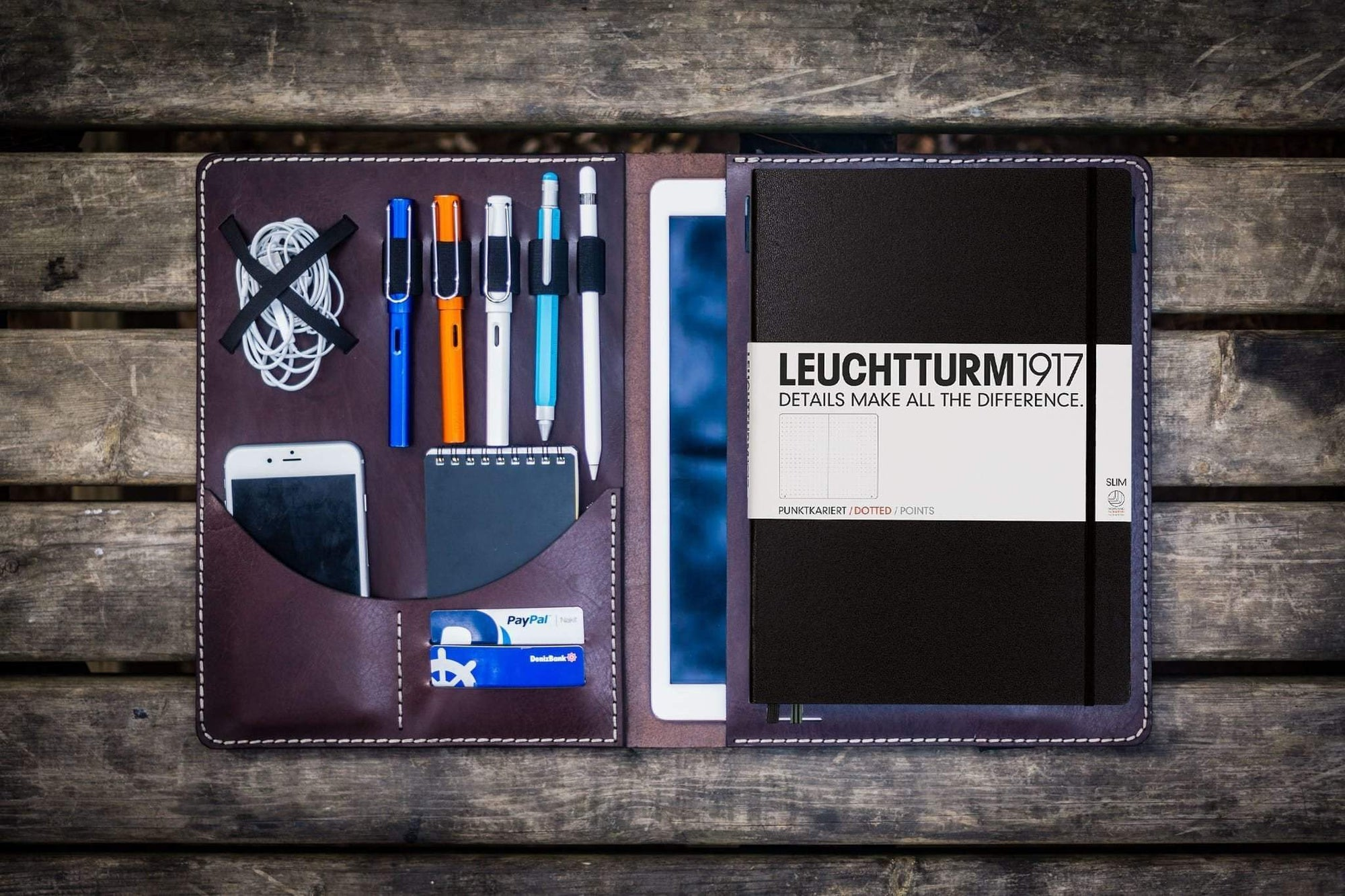 Leuchtturm1917 A4 - A4+ Leather Cover Portfolio - Dark Brown-Galen Leather