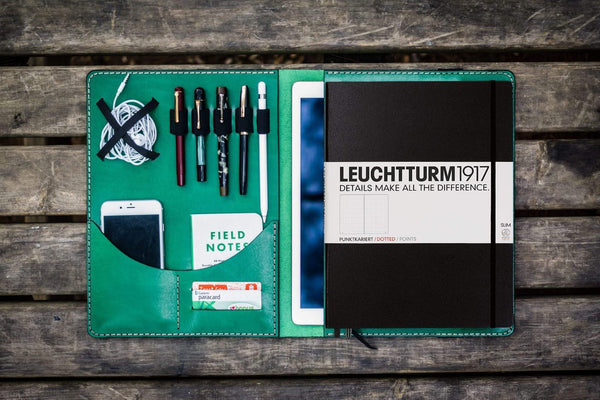 Leuchtturm1917 A4 - A4+ Leather Cover Portfolio - Green - GalenLeather - 1