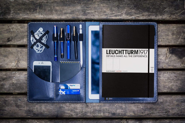 Leuchtturm1917 A4 - A4+ Leather Cover Portfolio - Navy Blue-Galen Leather