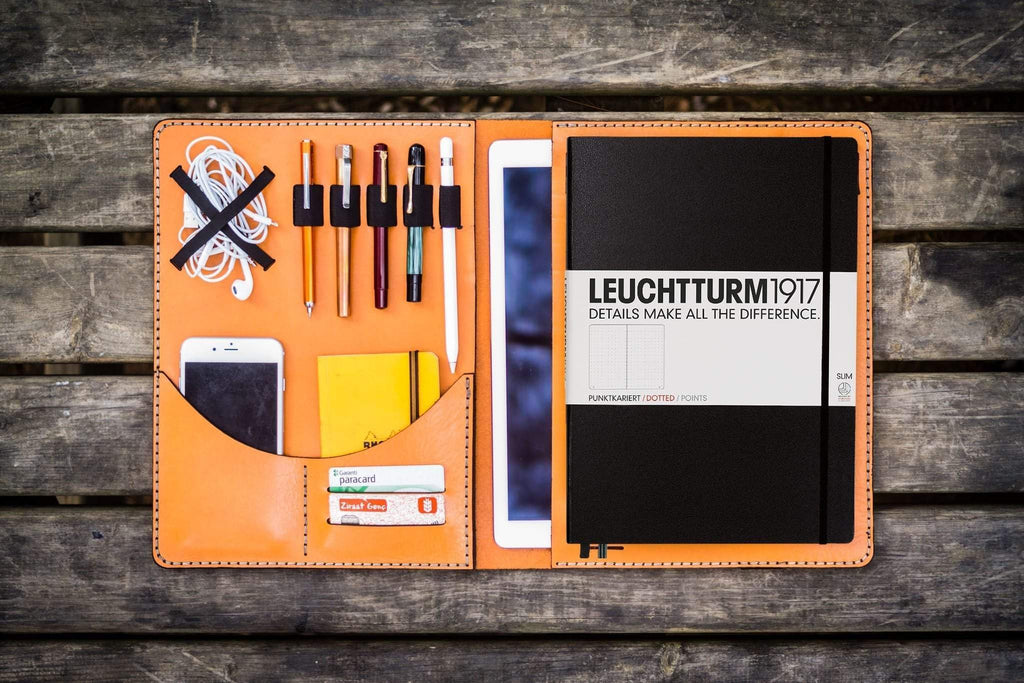 Leuchtturm1917 A4 - A4+ Leather Cover Portfolio - Orange-Galen Leather
