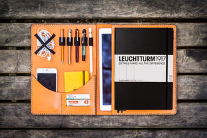 Leuchtturm1917 A4 - A4+ Leather Cover Portfolio - Orange - GalenLeather - 1