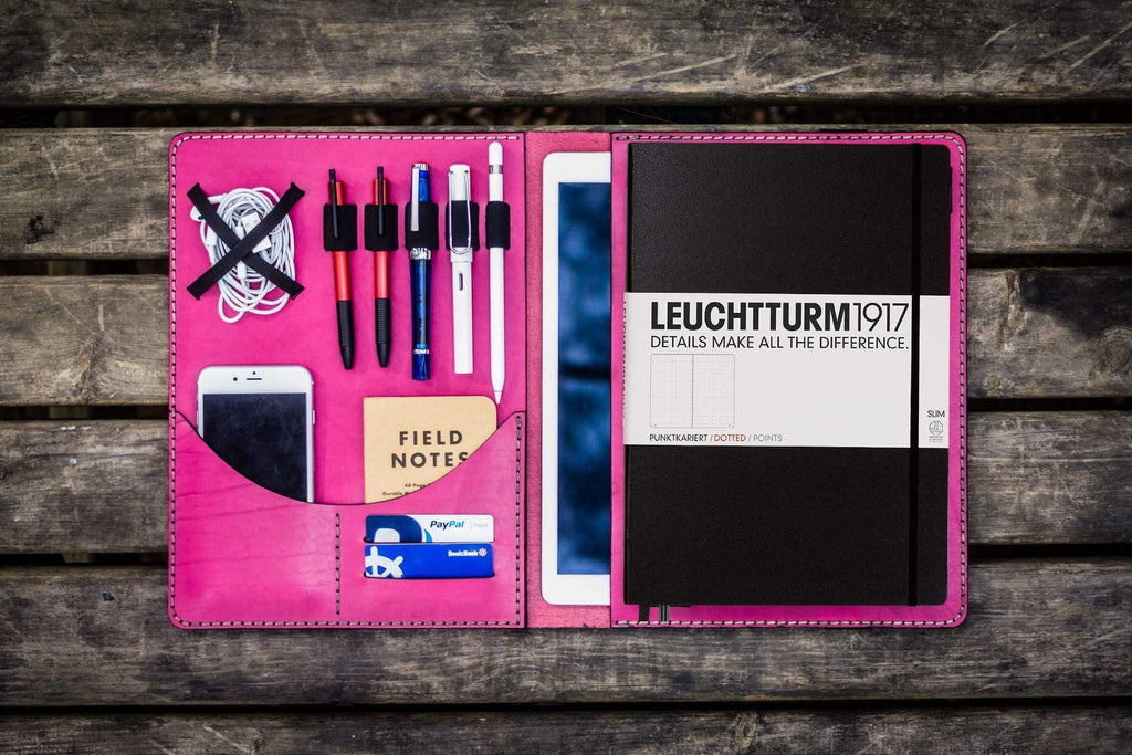 Leuchtturm1917 A4 - A4+ Leather Cover Portfolio - Pink-Galen Leather