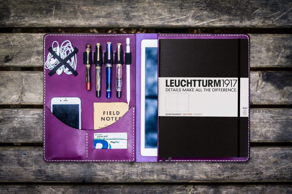 Leuchtturm1917 A4 - A4+ Leather Cover Portfolio - Purple-Galen Leather