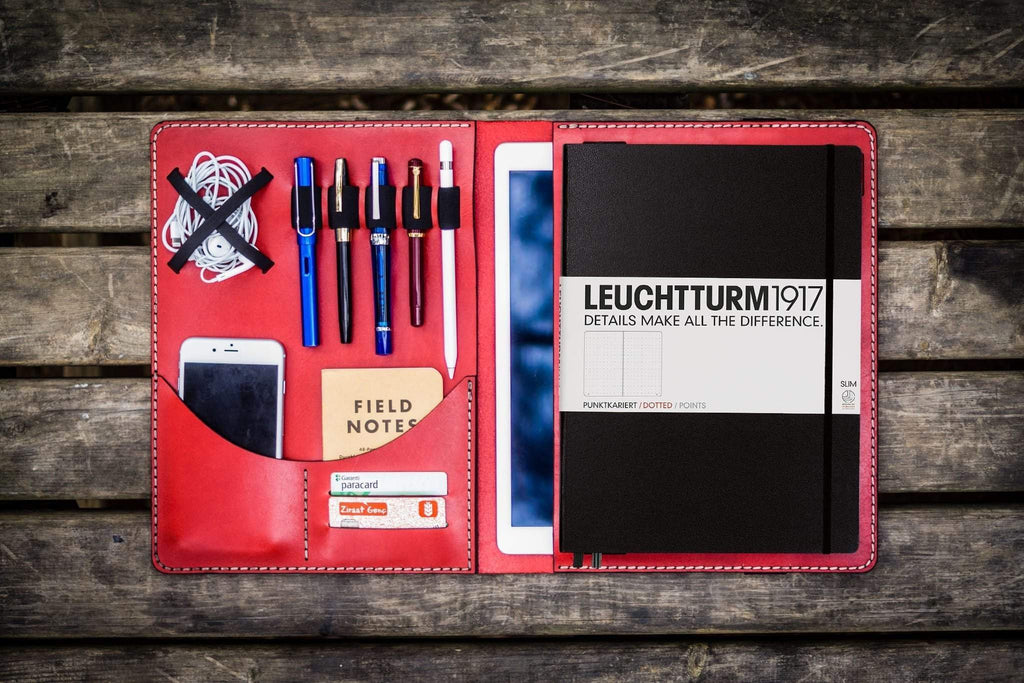 Leuchtturm1917 A4 - A4+ Leather Cover Portfolio - Red-Galen Leather