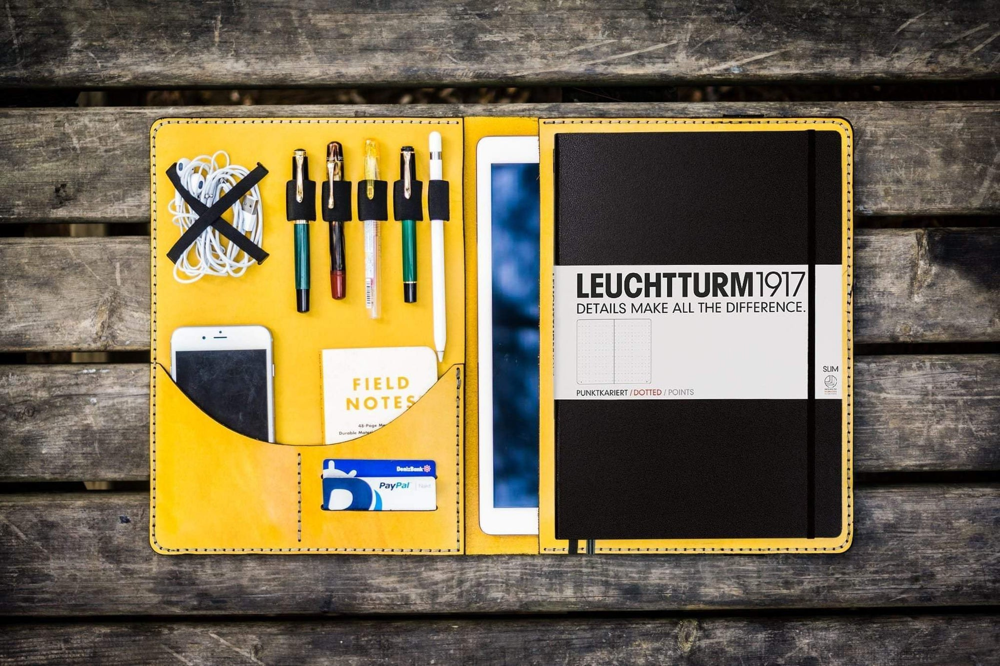 Leuchtturm1917 A4 - A4+ Leather Cover Portfolio - Yellow-Galen Leather