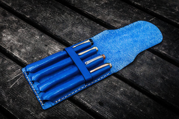 Major Leather Fountain Pen Case - Blue-Galen Leather