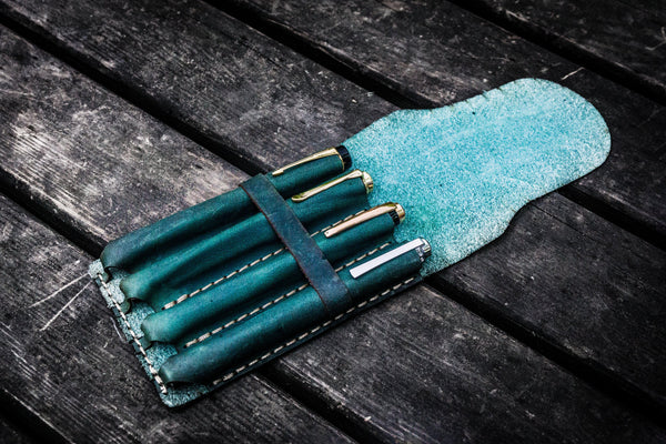 Major Leather Fountain Pen Case - Crazy Horse Forest Green-Galen Leather