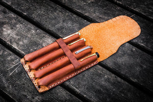 Major Leather Fountain Pen Case - Crazy Horse Tan-Galen Leather