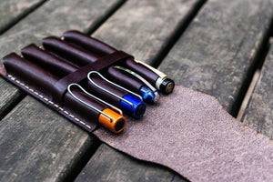 Major Leather Fountain Pen Case - Dark Brown-Galen Leather