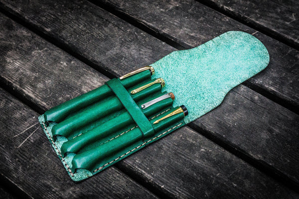 Major Leather Fountain Pen Case - Green-Galen Leather