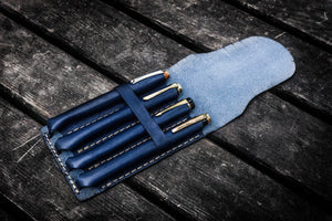 Major Leather Fountain Pen Case - Navy Blue-Galen Leather