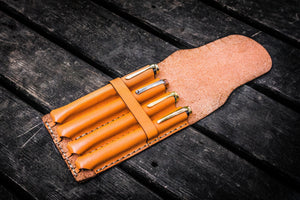 Major Leather Fountain Pen Case - Orange-Galen Leather