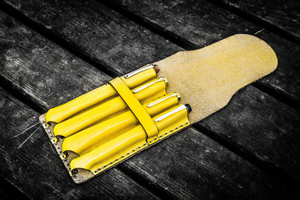 Major Leather Fountain Pen Case - Yellow-Galen Leather