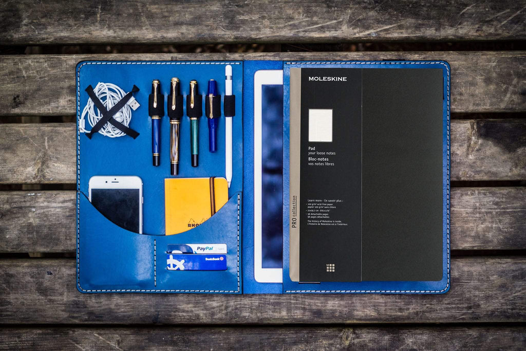 Moleskine Professional Workbook A4 Cover, Leather Compendium - Blue-Galen Leather