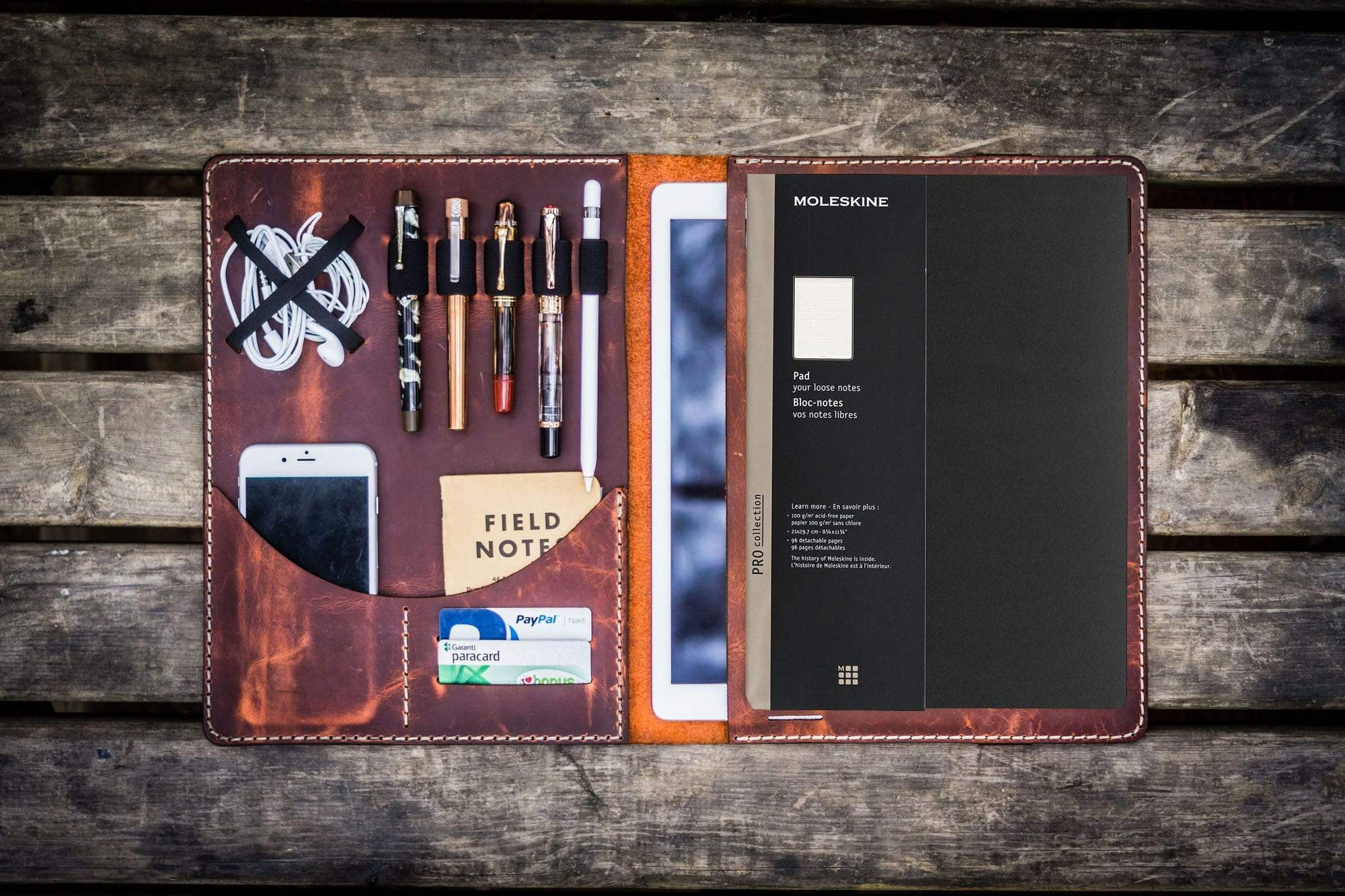 Moleskine Professional Workbook A4 Cover, Leather Compendium - Crazy Horse Orange-Galen Leather