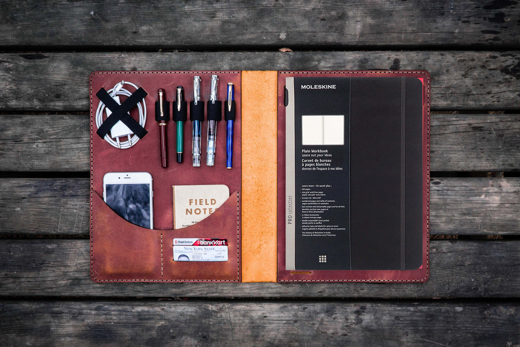 Moleskine Professional Workbook A4 Cover, Leather Compendium - Crazy Horse Tan-Galen Leather
