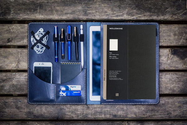 Moleskine Professional Workbook A4 Cover, Leather Compendium - Navy Blue-Galen Leather