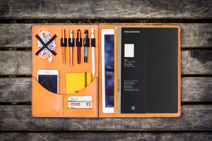 Moleskine Professional Workbook A4 Cover, Leather Compendium - Orange-Galen Leather