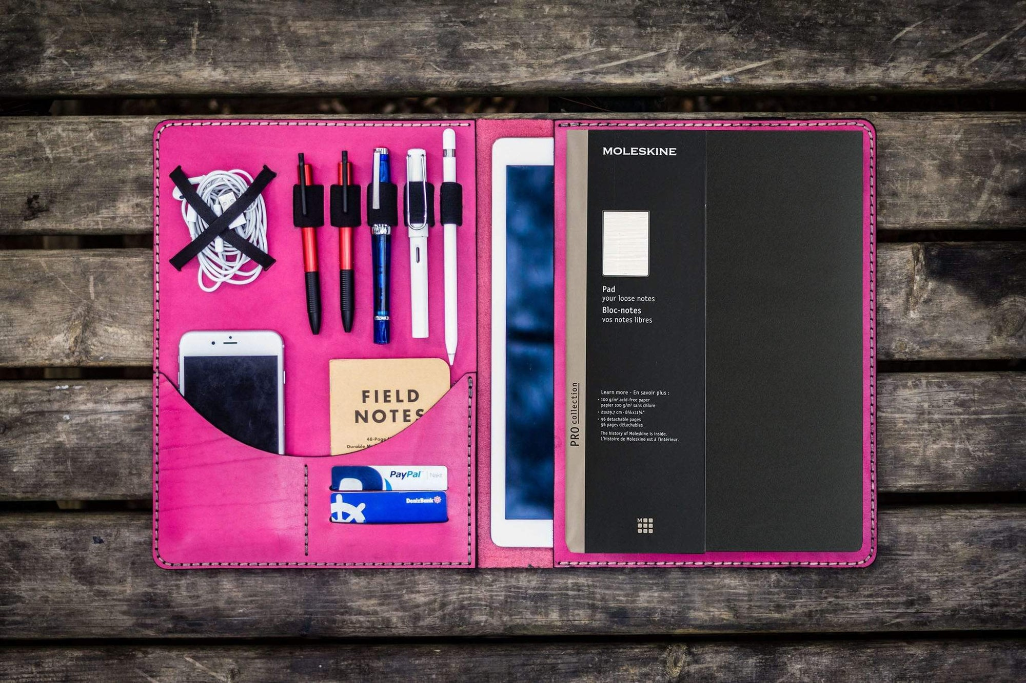 Moleskine Professional Workbook A4 Cover, Leather Compendium - Pink-Galen Leather