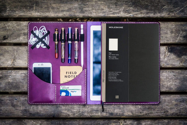 Moleskine Professional Workbook A4 Cover, Leather Compendium - Purple-Galen Leather