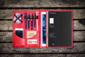 Moleskine Professional Workbook A4 Cover, Leather Compendium - Red-Galen Leather