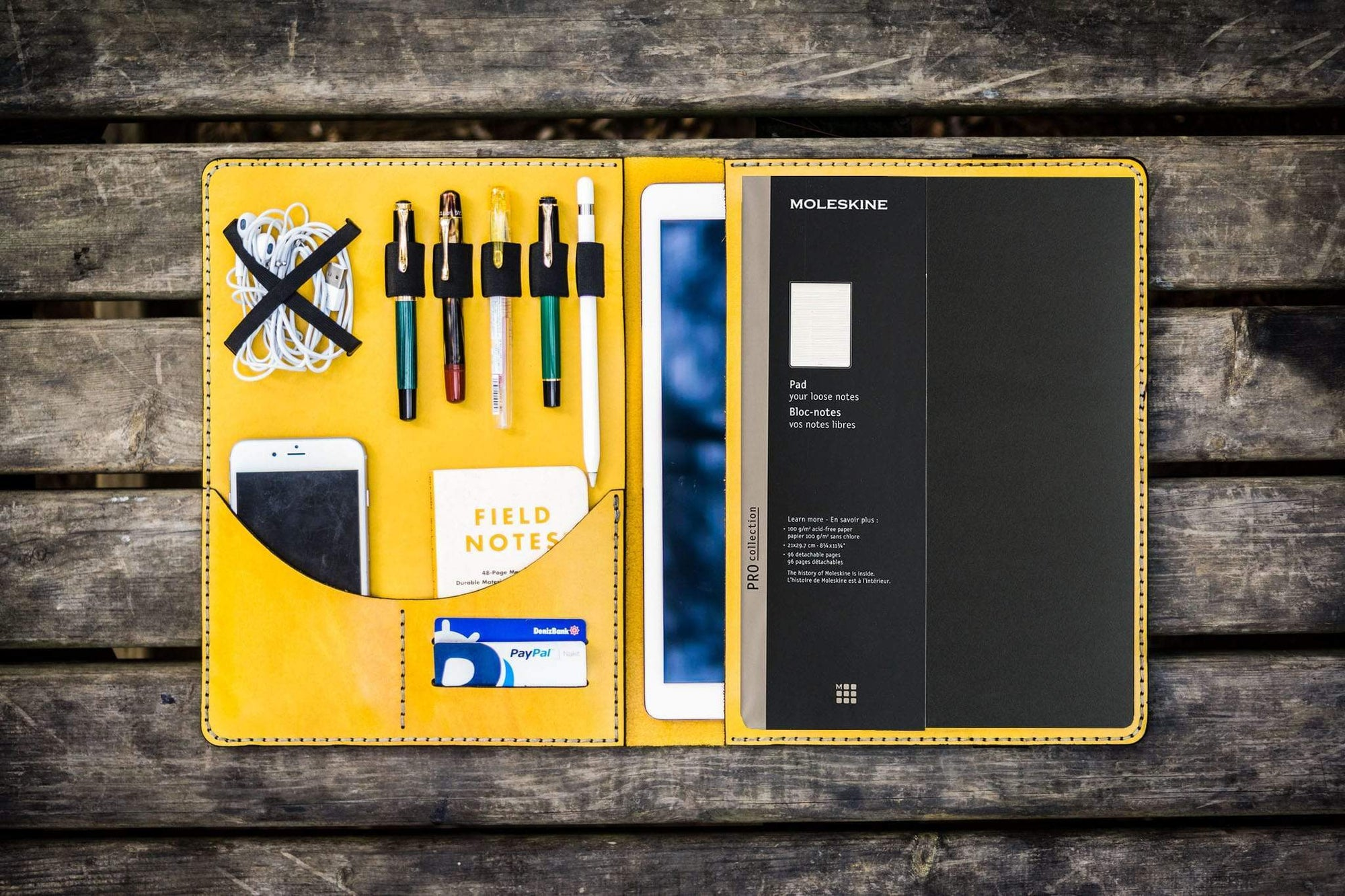 Moleskine Professional Workbook A4 Cover, Leather Compendium - Yellow-Galen Leather