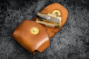 M+R Brass Pencil Sharpener - With Leather Case-Galen Leather