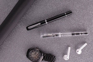 Narwhal Fountain Pen - Clear Demonstrator + Leather Pen Sleeve-Galen Leather
