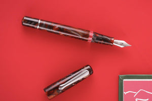 Narwhal Fountain Pen - Schuylkill Rockfish Red + Leather Pen Sleeve-Galen Leather