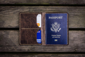 No.06 Hand-stitched Leather Passport Holder-Rustic Dark Brown-Galen Leather