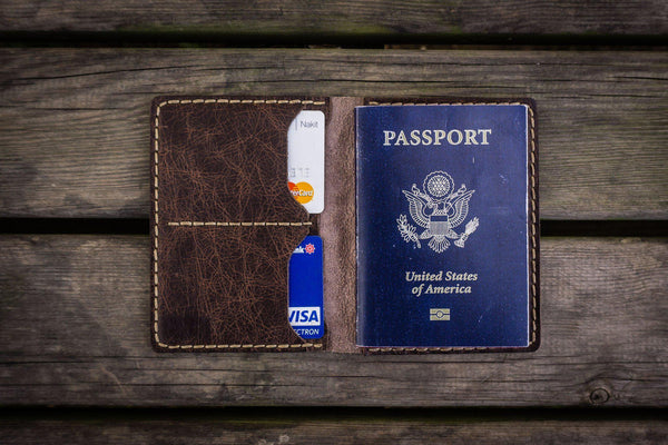 No.06 Hand-stitched Leather Passport Holder-Rustic Dark Brown - GalenLeather - 1