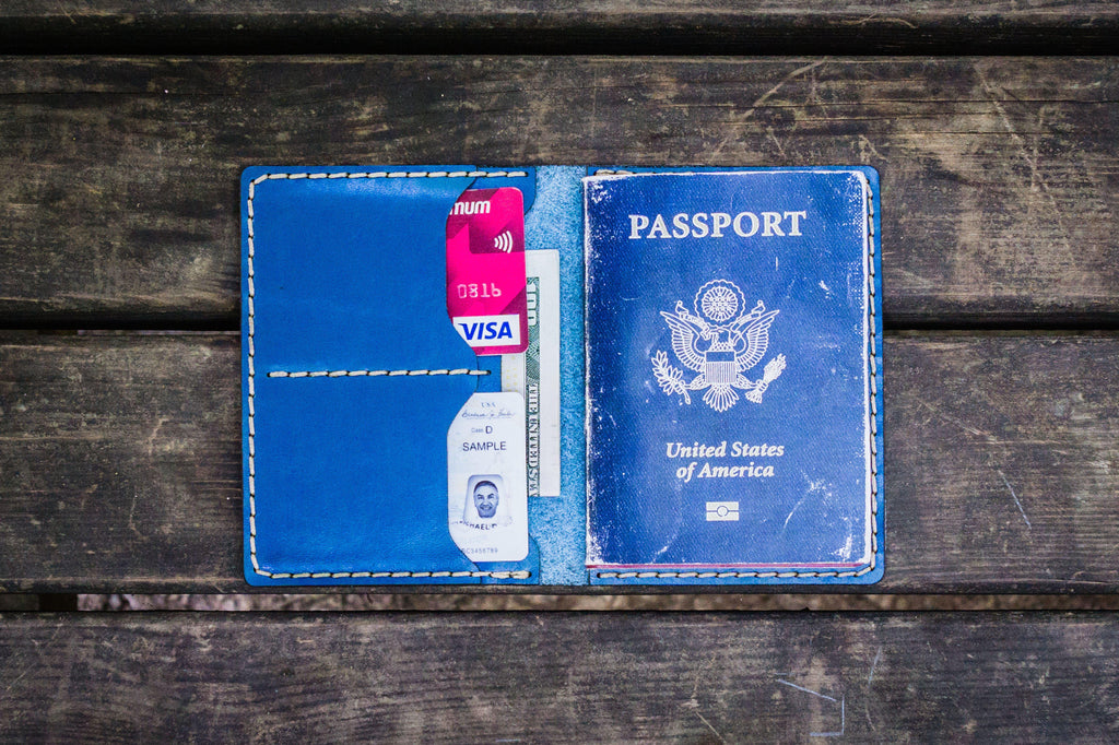 No.06 Leather Passport Holder - Blue-Galen Leather