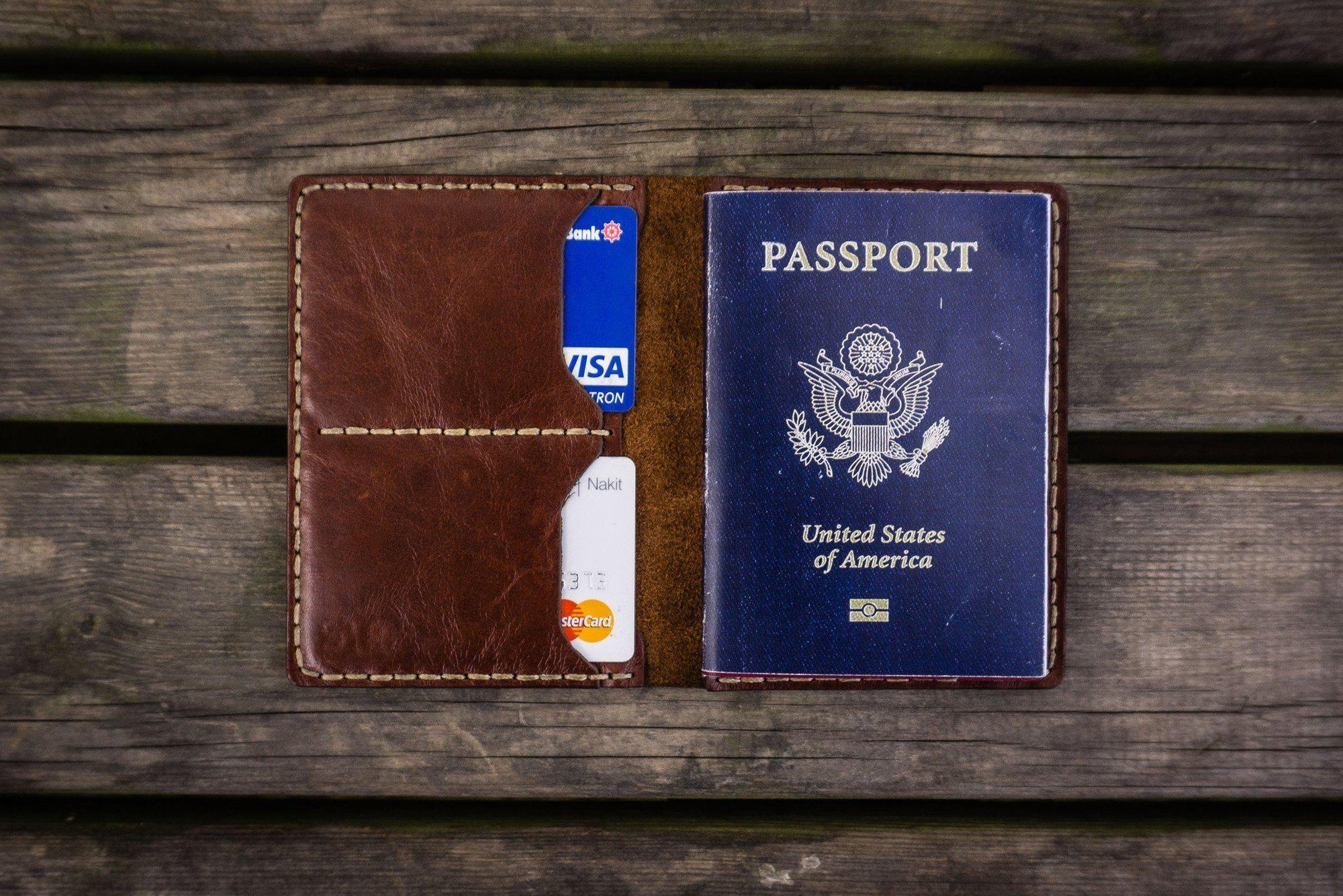 No.06 Leather Passport Holder - Brown-Galen Leather