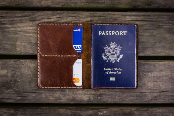 No.06 Hand-stitched Leather Passport Wallet - Brown-Galen Leather
