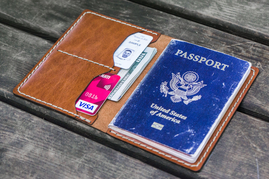 432b75be1f7 No.06 Hand-Stitched Leather Passport Wallet - Chocolate Brown ...