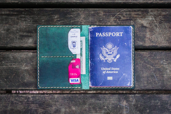 No.06 Leather Passport Holder - Crazy Horse Forest Green-Galen Leather