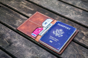 No.06 Leather Passport Holder - Crazy Horse Orange-Galen Leather