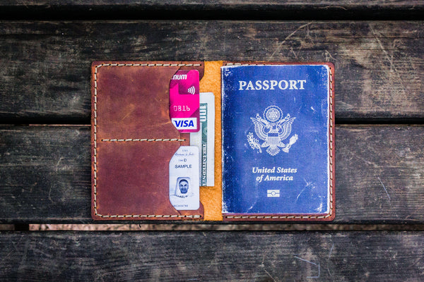 No.06 Leather Passport Holder - Crazy Horse Tan-Galen Leather