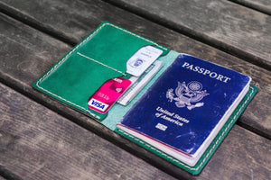 No.06 Leather Passport Holder - Green-Galen Leather