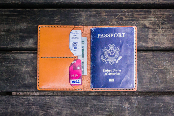 No.06 Leather Passport Holder - Orange-Galen Leather