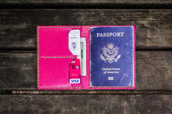 No.06 Leather Passport Holder - Pink-Galen Leather