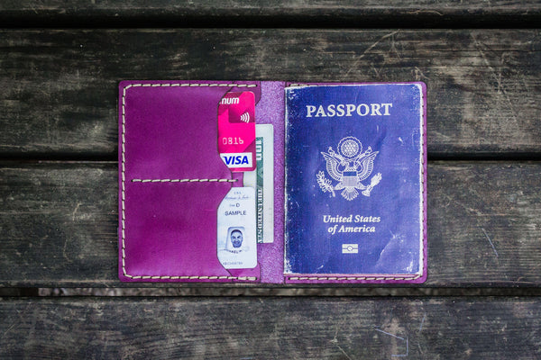 No.06 Leather Passport Holder - Purple-Galen Leather