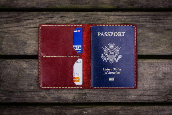 No.06 Hand-stitched Leather Passport Holder-Red - GalenLeather - 1