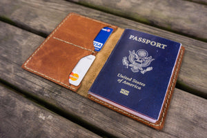No.06 Hand-stitched Leather Passport Holder-Rustic Brown - GalenLeather - 3
