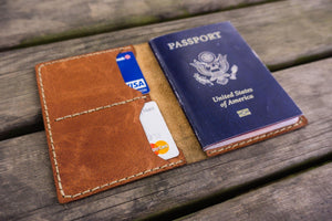 No.06 Hand-stitched Leather Passport Holder-Rustic Brown - GalenLeather - 4