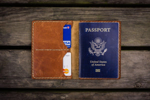 No.06 Hand-stitched Leather Passport Holder-Rustic Brown - GalenLeather - 1