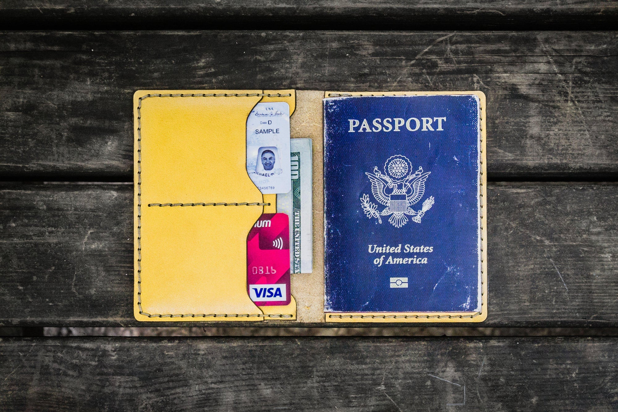 No.06 Leather Passport Holder - Yellow-Galen Leather